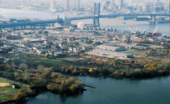 An aerial view of the North Camden waterfront, as seen from the northeast.