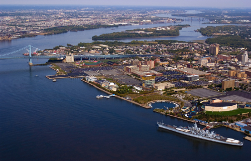An aerial view of Camden's waterfront, from the southwest.