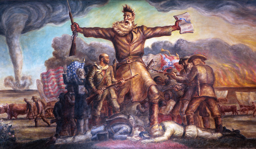 "This mural from the Kansas state capitol shows John Brown at the center of the ""Bleeding Kansas"" conflict that was a prologue to the Civil War."