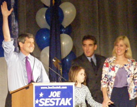 Rep. Joe Sestak celebrates his victory Tuesday night in the Democratic primary for U.S. Senate. Photo by Tom MacDonald/WHYY