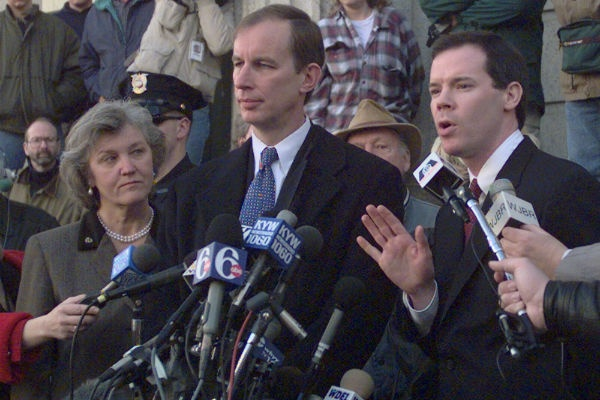 Assistant U.S. Attorney Colm Connolly, right, answers questions from the media as Delaware State Prosecutor Ferris Wharton, center, and Deleware Attorney General Jane Brady, left, listen after a jury convicted Thomas J. Capano for first-degree murder in the death of Anne Marie Fahey. (AP Photo/Charles Rex Arbogast)