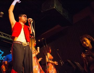 David Sweeny (center) performs as Johnny Showcase with Michael Baker (left), and Adrienne Mackey at Milkboy in Philadelphia.