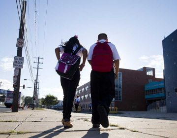 Students arrive on the first day of school in Philadelphia, Pennsylvania. (AP Photo/Matt Rourke)