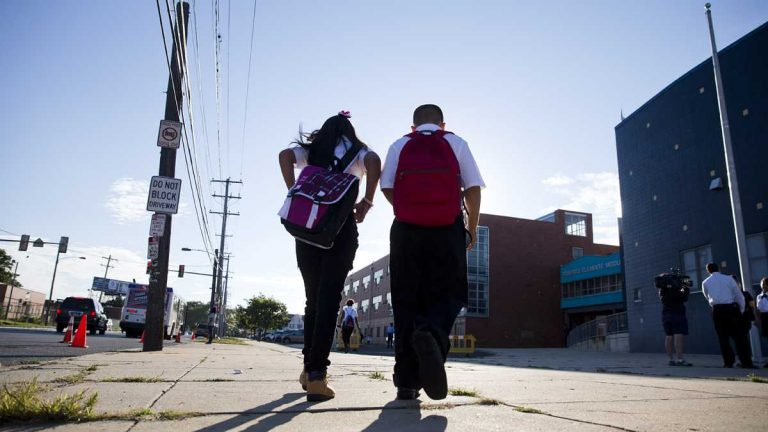 Students arrive on the first day of school in Philadelphia, Pennsylvania. (AP Photo/Matt Rourke)
