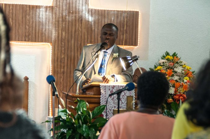 Pastor John H. Graves delivers a word during Sunday morning service.