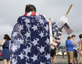 Person draped in flag