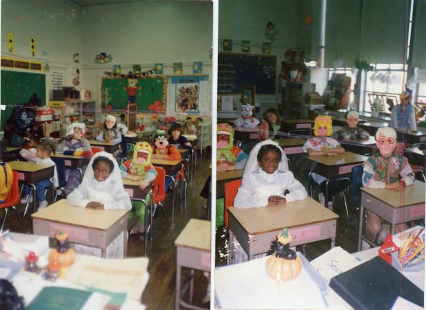 Diane Precht sits in class with her peers dressed in Halloween costumes. (Courtesy of Diane Precht)