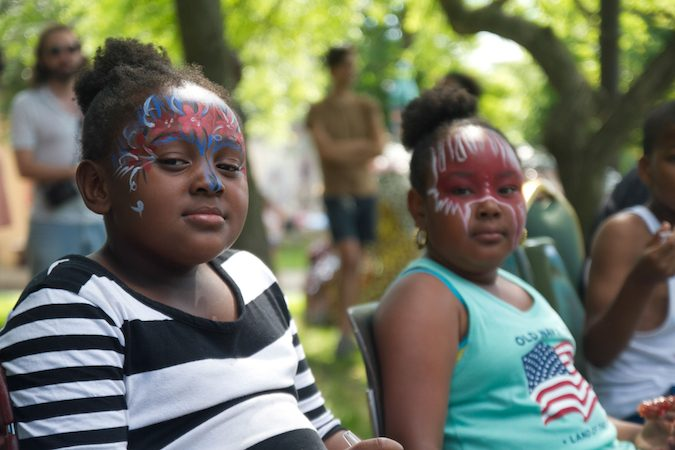 Young audience members at the Storytelling Block Party. (Miguel Martinez/Every ZIP Philadelphia)