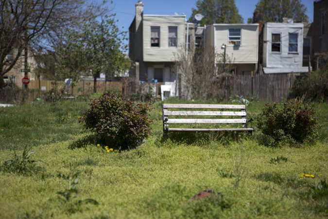 A bench and a bit of landscaping can be found in a lot that was once used as a community garden. (Photo by Jessica Kourkounis)