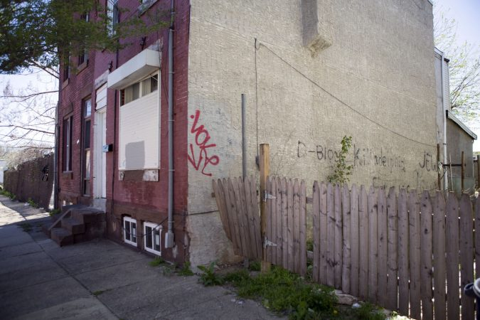 Graffiti on a house reads D-Block Killadelphia and Jew Town. (Photo by Jessica Kourkounis)