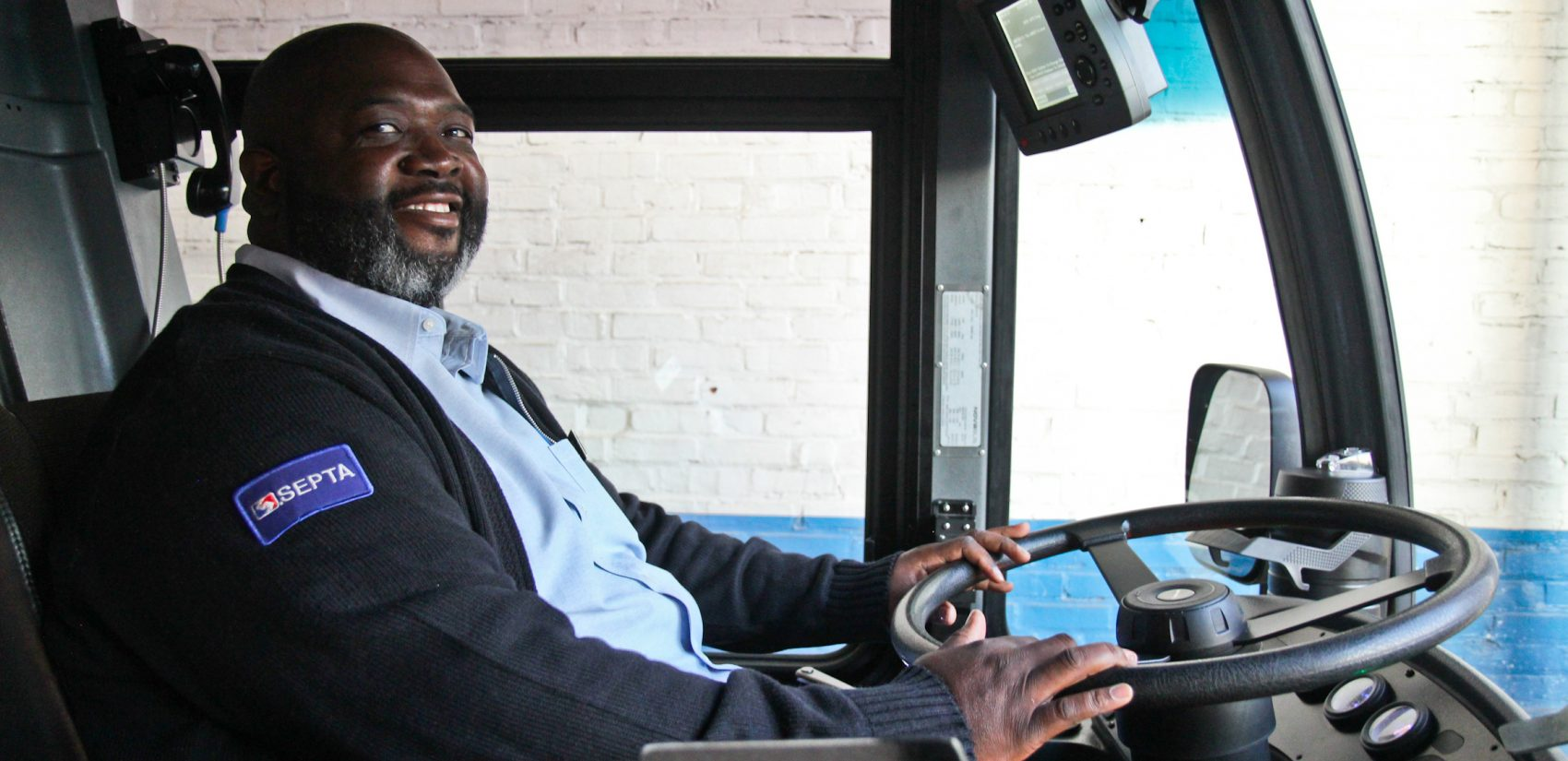 SEPTA driver Zach Chapman hits the road after inspecting his bus in the morning. (Kimberly Paynter/WHYY)
