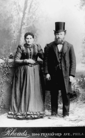 Rabbi Benjamin Block poses with his wife, who came from Kovna Gurbernia in Lithuania during the 1880's along with 40,000 other Jews who arrived in Philadelphia. (Courtesy of Rea Abrams)