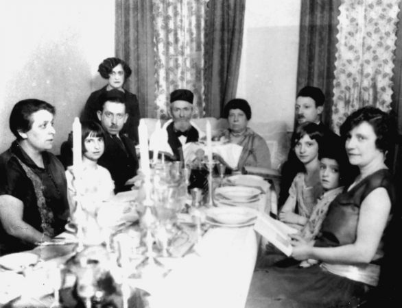 Rabbi Nahum Brenner had a large extended family with relatives in Newtown and South Philadelphia. In 1924 the family can been seen here sitting down to a Passover Seder. (Courtesy of Lou Brenner)