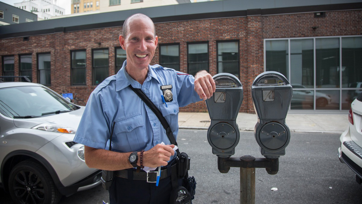 Scott Rutizer has been working for the Parking Authority for over seven years. (Emily Cohen for WHYY)