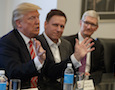 Donald Trump with Peter Thiel and Tim Cook