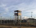 an unused guard tower at Guantanamo Bay
