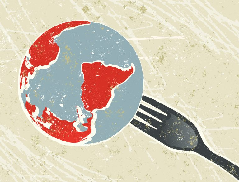 An illustration of the world on a fork.