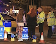 Police at the site of the Manchester attack
