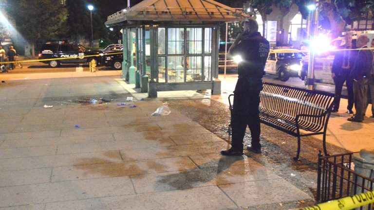 Police investigate a fatal stabbing in Wilmington's Rodney Square Monday night. (John Jankowski/for NewsWorks)