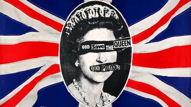 """Pretty Vacant: The Graphic Language of Punk,"" on display at the Galleries at Moore College of Art and Design.  Pictured: Jamie Reid, Sex Pistols: God Save the Queen Poster, 1977, lithograph.  (Collection of Andrew Krivine)"
