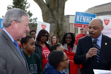 Jim Kenney at a rally with Jerry Jordan, president of Philadelphia Federation of Teachers during the 2015 mayor's race. (Bas Slabbers for WHYY)