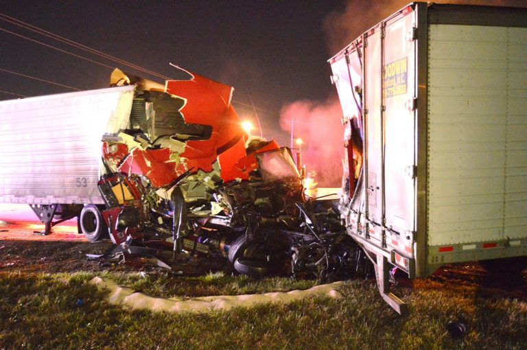 Early Thursday morning tractor trailer collision on southbound Rt. 896 near the intersection of Rt. 40.(John Jankowski for Newsworks)