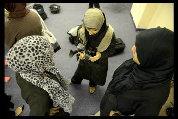 Camera training with Lajna Ima'illah (the women's auxiliary of Ahmadiyya Muslim Community) at Scribe Video Center while in production on 'Maidservants of Allah: Muslim Women in Perspective.' (Image courtesy of Lori Waselchuk)