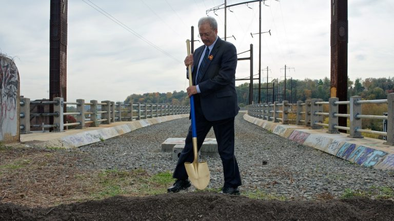 U.S. Rep. Chaka Fattah started his Tuesday schedule at a groundbreaking ceremony for the Manayunk Bridge Trail project that he helped facilitate. (Bas Slabbers/for NewsWorks)