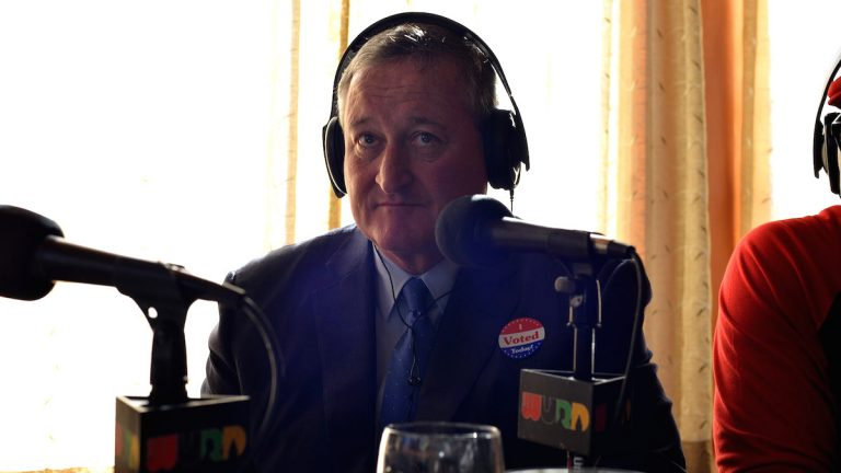 Listen up, Mr. Mayor-elect: Dave Davies has a few pieces of advice for Jim Kenney, shown here during an Election Day broadcast on WURD. (Bas Slabbers/for NewsWorks)