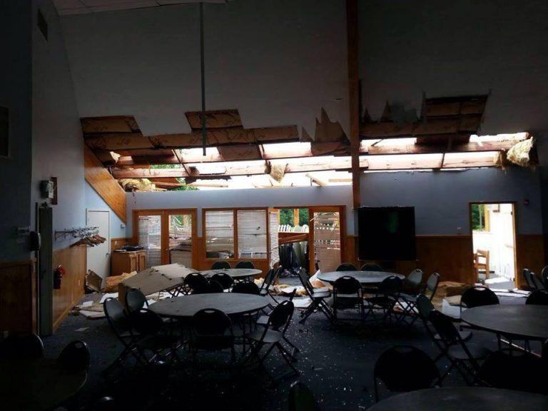 Damage inside Fellowship Hall at the Manahawkin Baptist Church. (Photo: Stafford Strong via Facebook)