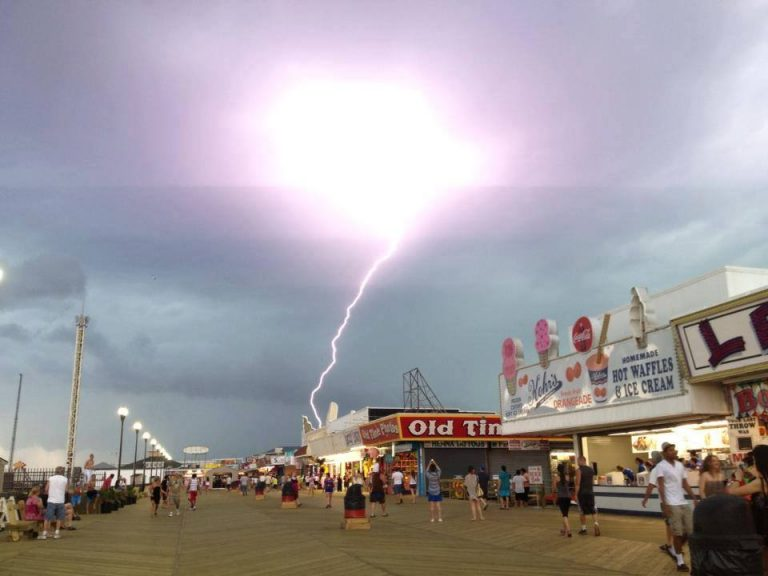 A lightning strike near the Seaside Height boardwalk as captured by JSHN contributor Jillian Speranza on June 24, 2013.