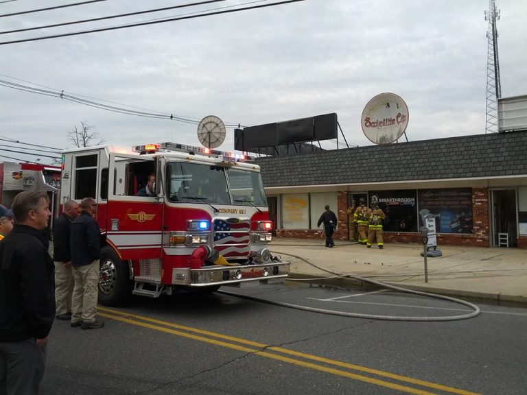 Firefighters entering a commercial structure on West Water Street in downtown Toms River late Thursday morning. (Photo courtesy of a Riverside Signal contributor)