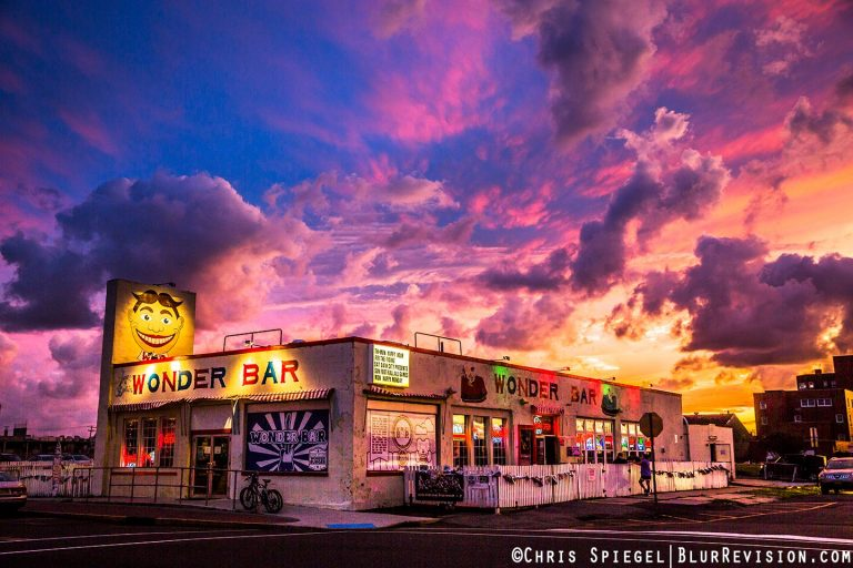 Sunset over the iconic Wonder Bar in Sept. 2014 by Blur Revision Media Design.