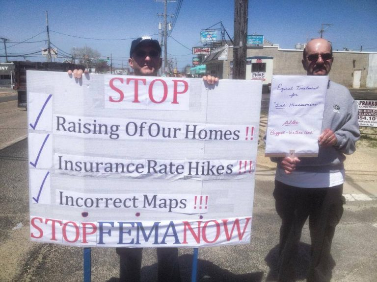 Protestors at an Ortley Beach rally earlier this year. (Image: Stop FEMA Now via Facebook)