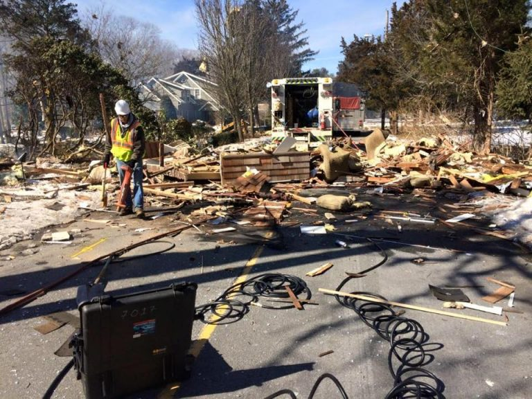 A natural gas explosion  destroyed a home and injured multiple people in Stafford Tuesday morning. (Image: Ocean County Sheriff's Department)