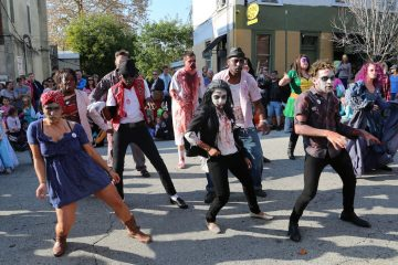Zombies took over Cotton Street lurching out with eerie dance moves for a chance to win a $100 cash prize (Natavan Werbock/for NewsWorks)