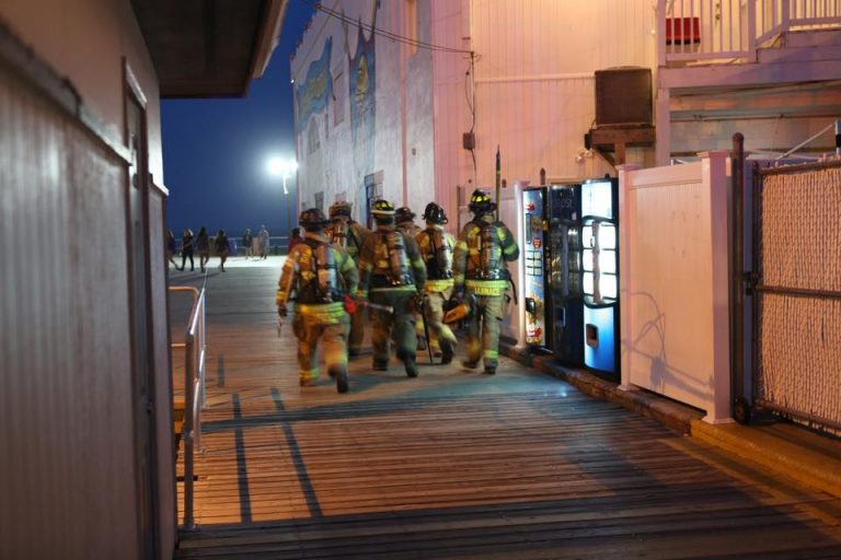 Firefighters on the Ocean City boardwalk last night. (Photo: JSHN contributor Marco Catini)