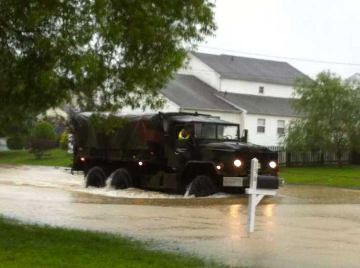 A military surplus vehicle in the Ocean Acres section of Stafford Township Monday morning. (Photo: @Ash_Aus2323 via Twitter)