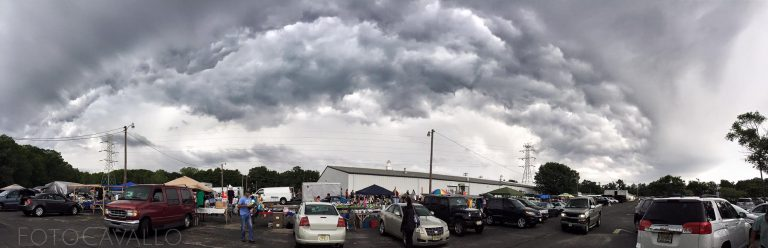 A storm front moving over the Collingwood Auction & Flea Market this morning. (Photo: JSHN contributor Corinne Cavallo)
