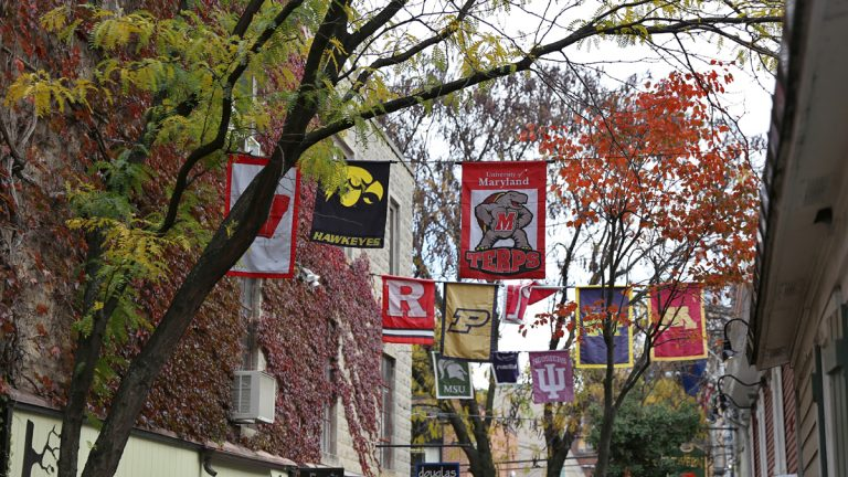 Where in Pennsylvania are these flags hung — bonus points if you can name the walkway.  (Lindsay Lazarski/WHYY)