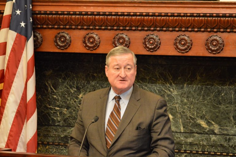 Mayor Jim Kenney says Philadelphia officials are going through records to make sure the city has no buildings similar to the one that burned in Oakland during a dance party late Friday night.(Tom MacDonald