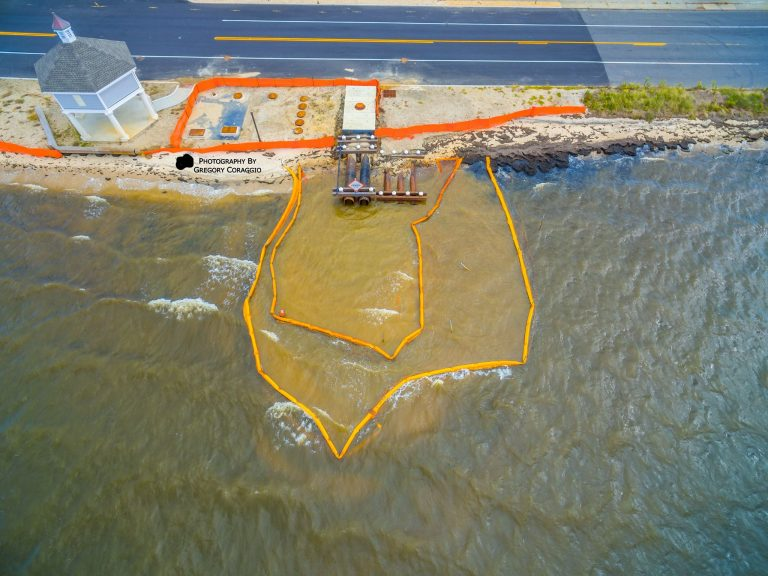 The 8th Avenue pump station and silt plume in Seaside Park last Saturday. (Photo courtesy of Gregory Coraggio/for Save Barnegat Bay)