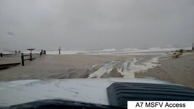 Ocean water reaching the A-7 beach access point. (Photo: N.J. Department of Environmental Protection)