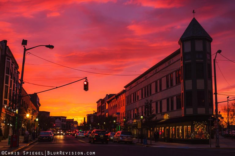 Sunset over Cookman Avenue in downtown Asbury Park in late November. (Photo: Blur Revision Media Design)