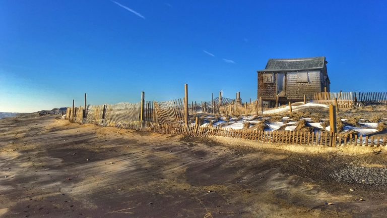Judge's Shack along the Island Beach State Park oceanfront as seen yesterday morning by Kevin Knutsen.
