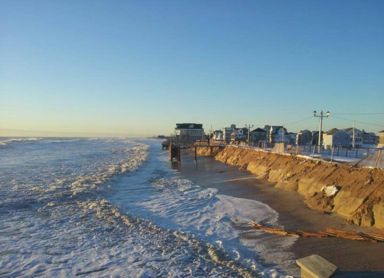 Ortley Beach this morning, showing erosion to the edge of the boardwalk. (Photo: JSHN contributor Kevin Karlick)