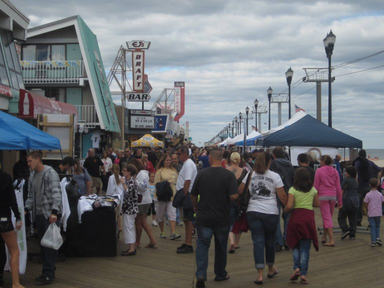 Crowds walking along the northern end of the Seaside Heights boardwalk earlier today. (Photo courtesy of Paul R. Wainwright, Jr., for Jersey Shore Hurricane News)