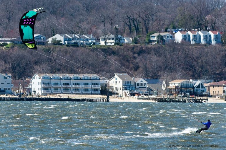 A kite surfer off Sandy Hook earlier this week by Mary Dunham/Shore Shot Images.