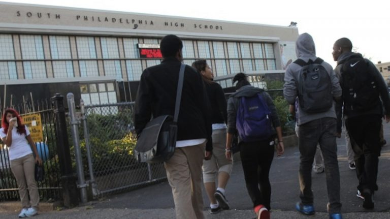 Students filing into South Philadelphia High School on the first day of school. (Kimberly Paynter/WHYY)