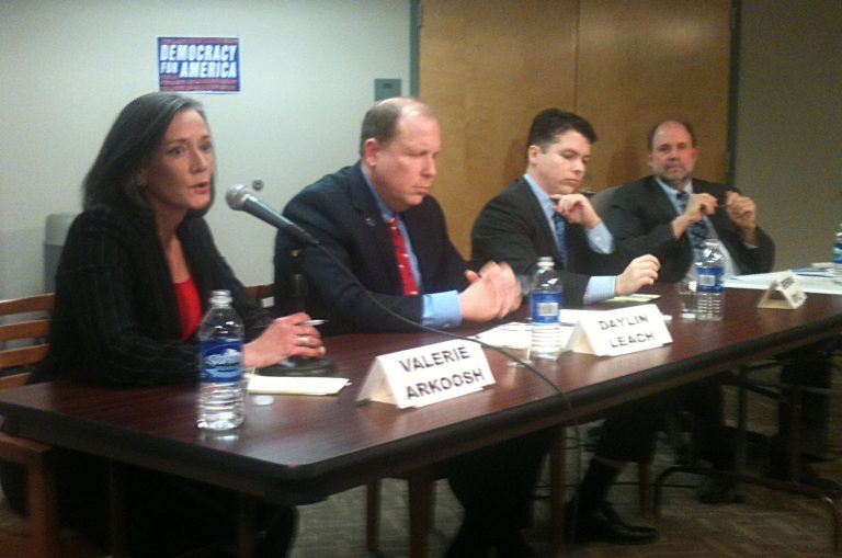 Congressional candidates Valerie Arkoosh, Daylin Leach, and Brendan Boyle join moderator Will Bunch (right) at a forum Sunday. (Newsworks photo/Dave Davies)